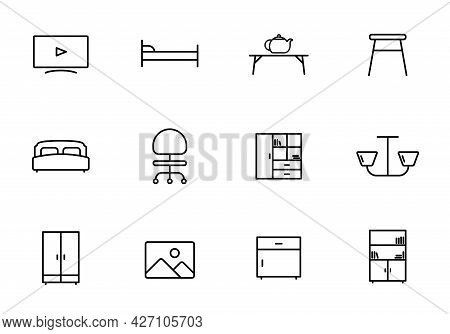 Furniture Line Vector Icons Isolated On White. Furniture Icon Set For Web And Ui Design, Mobile Apps