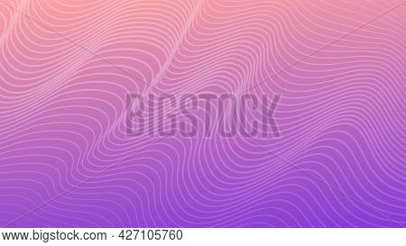 Modern Colorful Gradient Background With Wavy Lines. Violet Geometric Abstract Presentation Backdrop