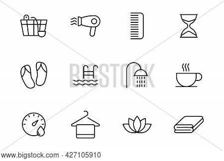Spa And Sauna Line Vector Icons Isolated On White. Spa And Sauna Linear Icon Set For Web And Ui Desi