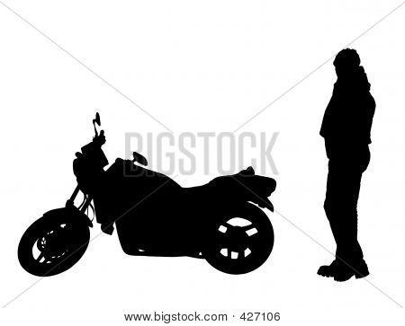 Isolated Biker And Motorbike