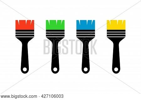 Simple Icon Of Paint Brushes And Painting Icons. Paint Brushes Red, Blue, Green, And Yellow.
