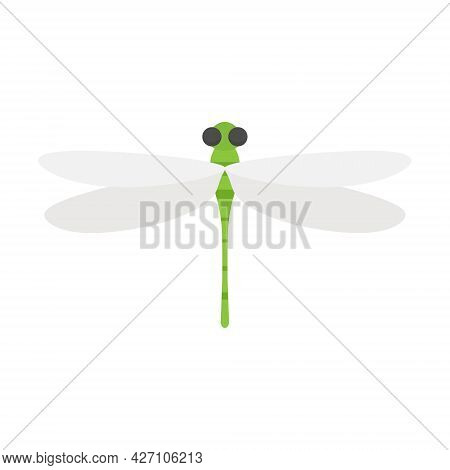 Green Dragonfly Bug. Cute Flat Dragonfly Icon. Vector Isolated On White