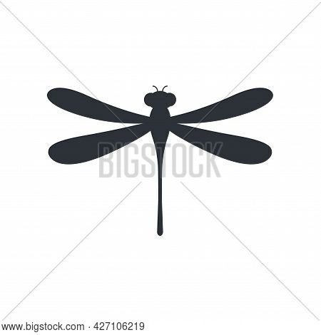 Dragonfly Icon. Cute Dragonfly Black Silhouette Symbol. Vector Isolated On White