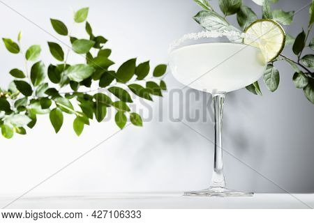 Shine Fresh Summer Refreshing Beverage Margarita With Salt Rim And Green Lime With Green Leaves In S