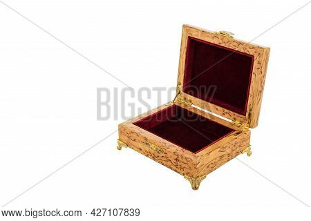 Empty Open Wooden Jewelry Box With Velvet Lining And Vintage Accessories And Clipping Pathon White B