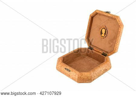 Open Wooden Jewelry Box With Velvet Lining