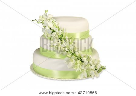 Traditional wedding cake on a white background