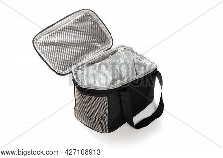 Angle View Grey And Black Lunch Pack Carrier On A White Background