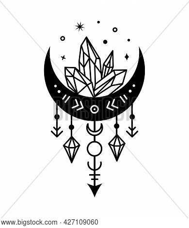 Moon And Crystals Mystical Symbol. Vector Celestial Illustration. Boho Silhouette Design.