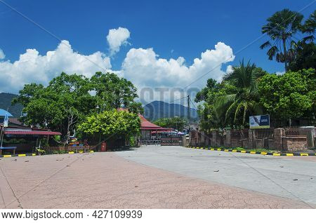 Penang, Malaysia.  August 21, 2017. The Entrance Area To The Penang National Park In George Town Pen