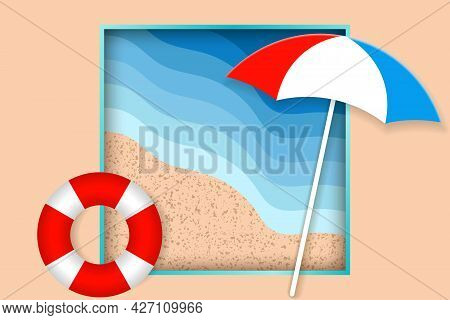 Summer Holiday Illustration. Beach Umbrella And Life Buoys On The Seacoast. Top View. Hello Summer C