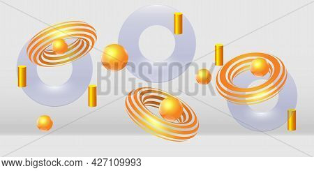 Realistic Scene With Group Of Flying Objects. Transparent And Golden Falling Volumetric Objects. Lev