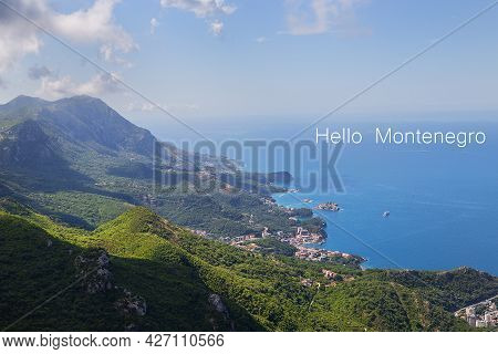 Prekars View From The Top Of The Mountain Road. View Of The Coast And The City Of The Budva Riviera.