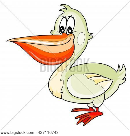 Cute Gray Pelican Character, Cartoon Illustration, Isolated Object On White Background, Vector, Eps