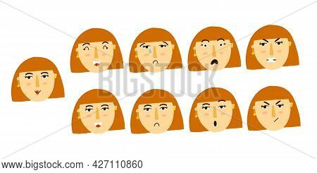 Woman Emotion. Female Character Portrait With Different Expression, Cute Red Head Girl Mood, Face Av