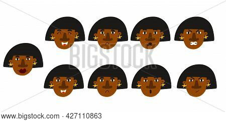 Woman Emotion. Female Character Portrait With Different Expression, Cute Black African Girl Mood, Fa