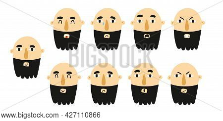 Man Emotion. Male Character Portrait With Different Expression, Cute Boy With Beard Mood, Face Avata