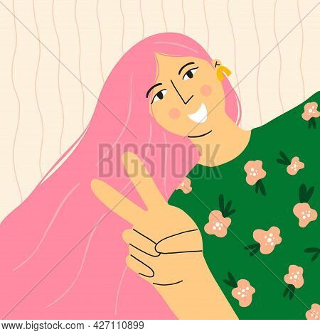 Girl Portrait. Happy Woman Showing Peace Gesture, Pink Long Hear And Pattern On T-shirt, Beautiful P