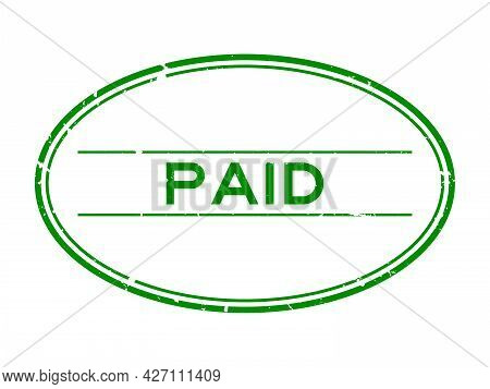 Grunge Green Paid Word Oval Rubber Seal Stamp On White Background
