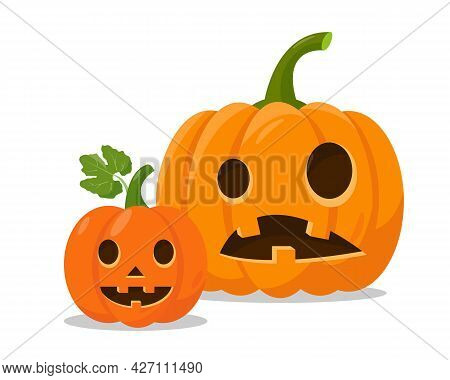 Two Orange Halloween Pumpkins Isolated On White Background. Pumpkin Faces For Autumn Holiday Design.