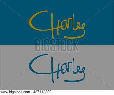 Initial Handwritten Charles Name Design, Logo For Corporate Identity, Company Name, Product Name, Si