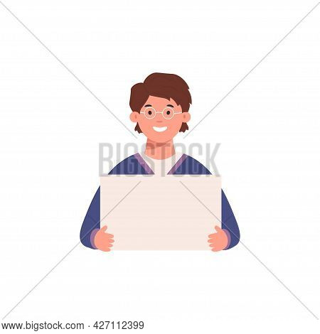 Young Man Holding Showing Displaying White Blank Board Banner Poster With Copyspace Area For Your Te