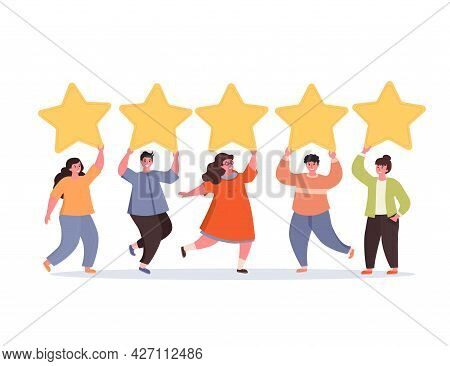 Men And Women Are Holding Gold Rating Stars Over The Heads. Concept Of Five Stars Rating. Feedback C