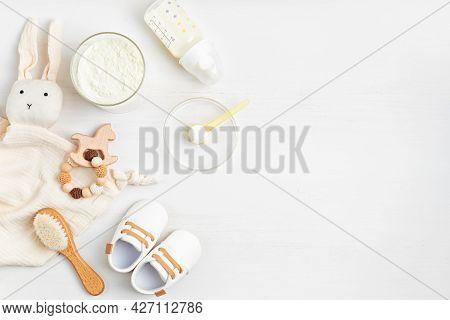 Preparation Of Formula For Baby Feeding. Baby Health Care, Organic Mixture Of Dry Milk Idea