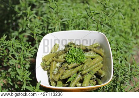 Bean Salad And Savory In The Garden