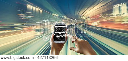 Telehealth Theme With Person Using A Smartphone Over Abstract High Speed Technology Pov Motion Blur