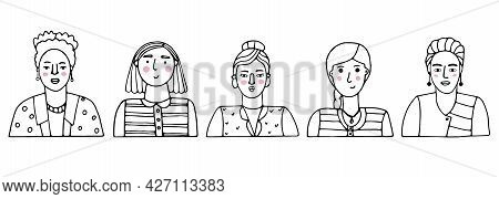 Vector Set Of Portraits Of People. Cartoon Funny Minimalistic Female Characters Of Different Ages. D