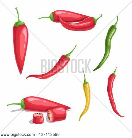 Chili Pepper Set In Cartoon Flat Style. Different Type Of Hot Spicy Vegetables. Whole And Cut. Cayen