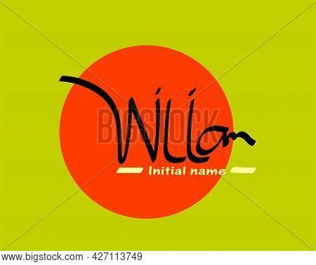 Initial Handwritten William Name Initial Design, Handwritten Logo For Identity. William Beauty Monog