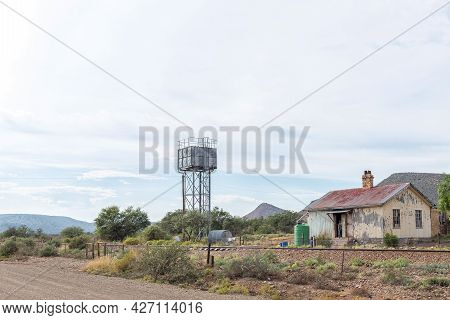 Vondeling, South Africa - April 21, 2021: Old Railway Building And Reservoir At Vondeling Railway St