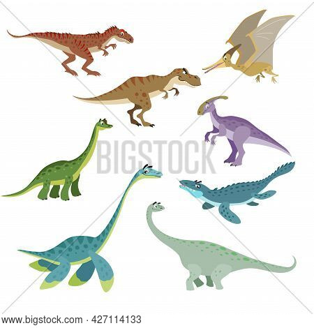Cartoon Dinosaurs Set. Cute Dinosaurs Collection In Flat Funny Style. Predators And Herbivores Prehi