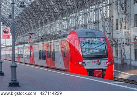 Moscow, Russia - July 17, 2021: Highspeed Train To Vnukovo Airport Stands By The Platform.