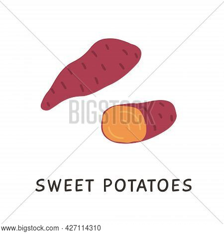 Sweet Yam Potato. Hand Drawn Simple Vegetable Ingredient. Healthy Root Veggie Icon For Farming Marke