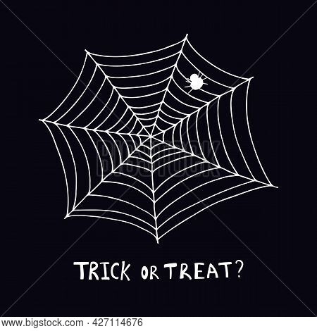 Vector Halloween Illustration With White Spider, Web And Text Trick Or Treat On Dark Background For