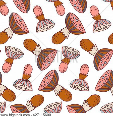 Vector Seamless Colorful Pattern With Lined Mushrooms Or Fungi In Warm Tones
