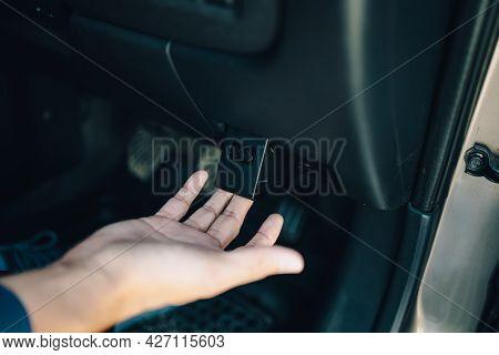 Hand Pull The Botton For Open Bonnet After Car Broken, Car Breakdown On Roadside.