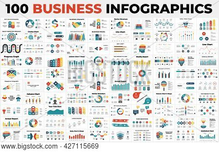 100 Business Infographics. Presentation Slide Templates. Charts, Graphs, Circle Diagrams And Reports