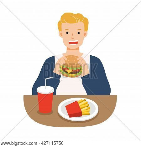 Young Men Eating Hamburger With French Fries, And Soda. Fast Food For Life. Unhealthy Foods Concept.