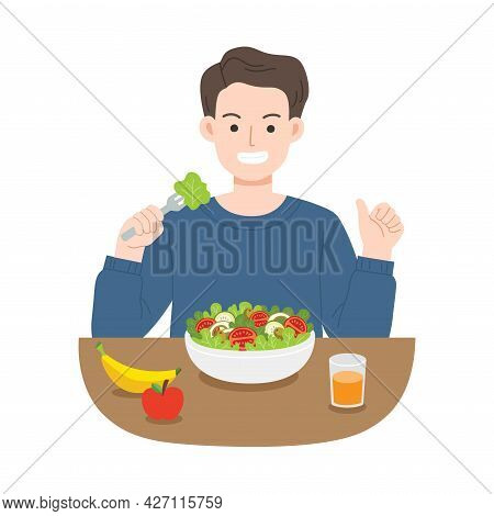 Young Men Eating Salads. Diet Food For Life. Healthy Foods With Benefits. Healthy And Vegan Food Con