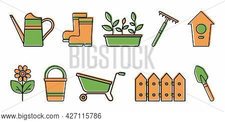 Set Of Color Icons Of Garden Tools, Seedlings, Flower, Isolated On White Background. Household Plot,