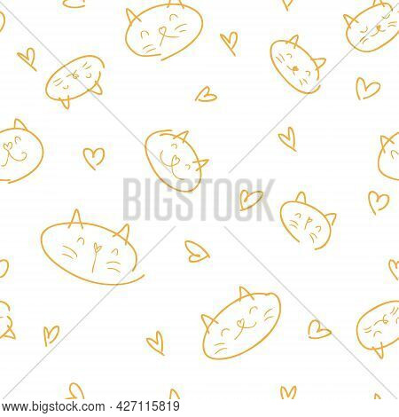 Free Hand Drawn Vector Seamless Pattern Of Cat Muzzles And Hearts In Pastel Autumn Colors. Perfect F