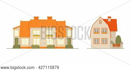 Set Of Two Cozy Residential Houses, Town Houses With Tiled Roof. Large Windows Decorated With Flower