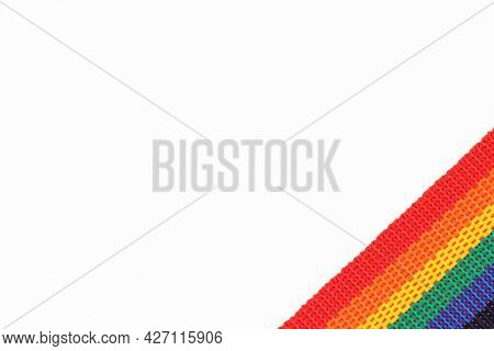 A Rainbow Belt Or Ribbon Is An Lgbtq Symbol Highlighted On A White Background.it Can Be Used As A Bo