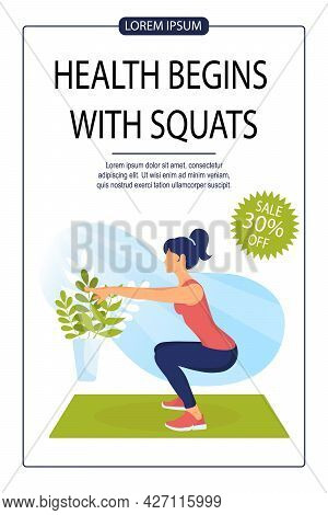 Sporty Woman Does Squats. Fitness Training Advertising Banner. Sit-ups, Healthy Lifestyle, Gym, Fitn