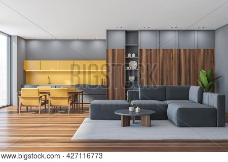 Panoramic Interior Of Studio With Living Room. Grey Sofa With Coffee Table, Lower Drawers, Carpet An