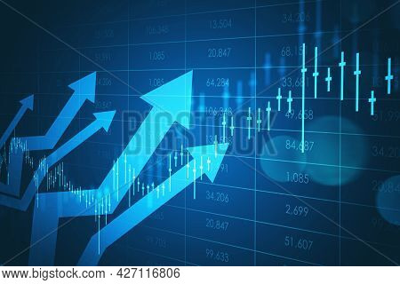 Five Light Arrows, Showing Growth, With Rising Wave Of Chart In Bright Blue. Table Background With D